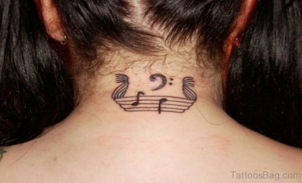 Music Tattoo On Nape