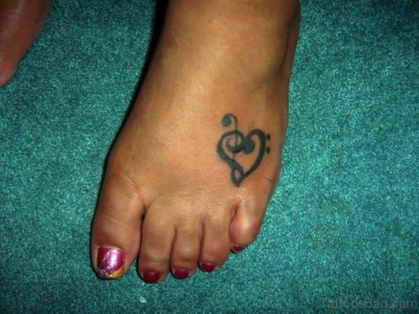 Musical Heart Tattoo On Foot