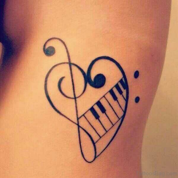 Musical Heart Tattoo On Rib