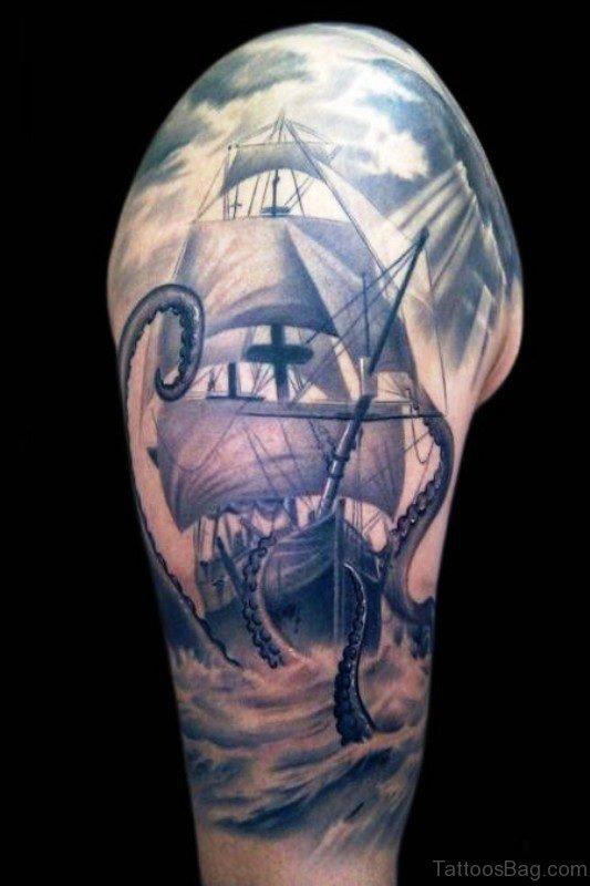 Mystic Black And White Big Ship Tattoo