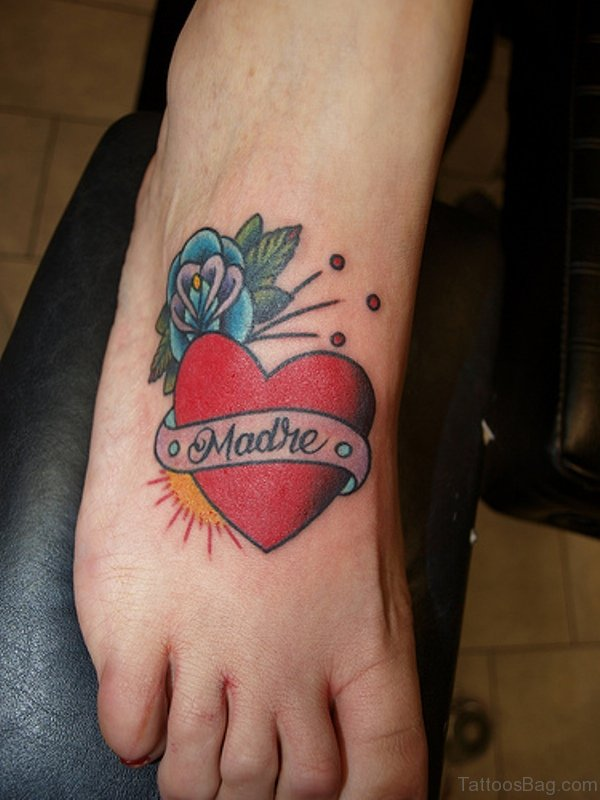 Name Heart Tattoo On Foot