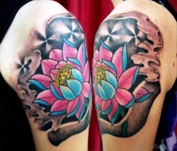 Natural Colorful Flower Tattoo On Shoulder