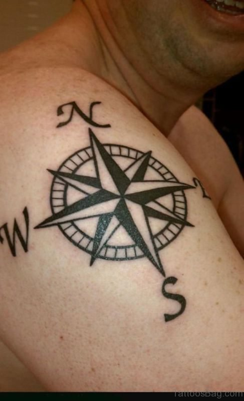 Nautical Compass Tattoo On Right Shoulder