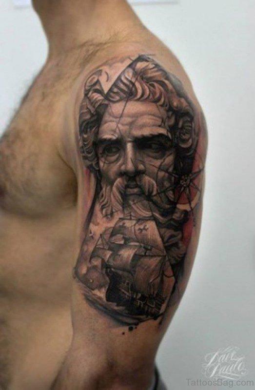 Nautical Viking Shoulder Tattoo