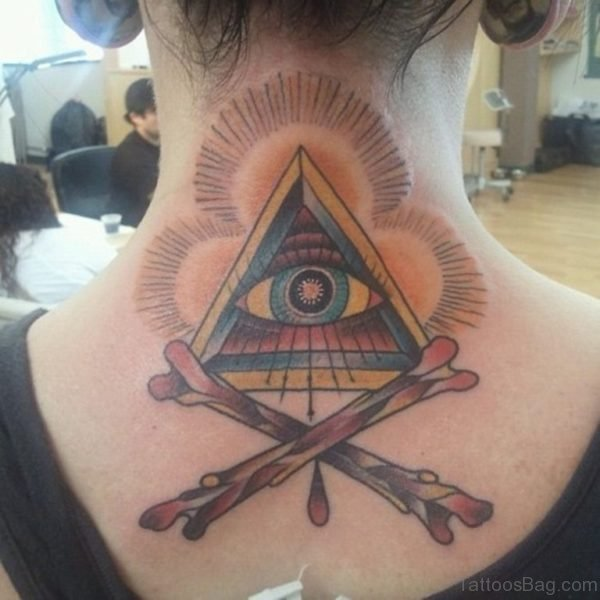 Nice All Seeing Eye Tattoo On Back Neck