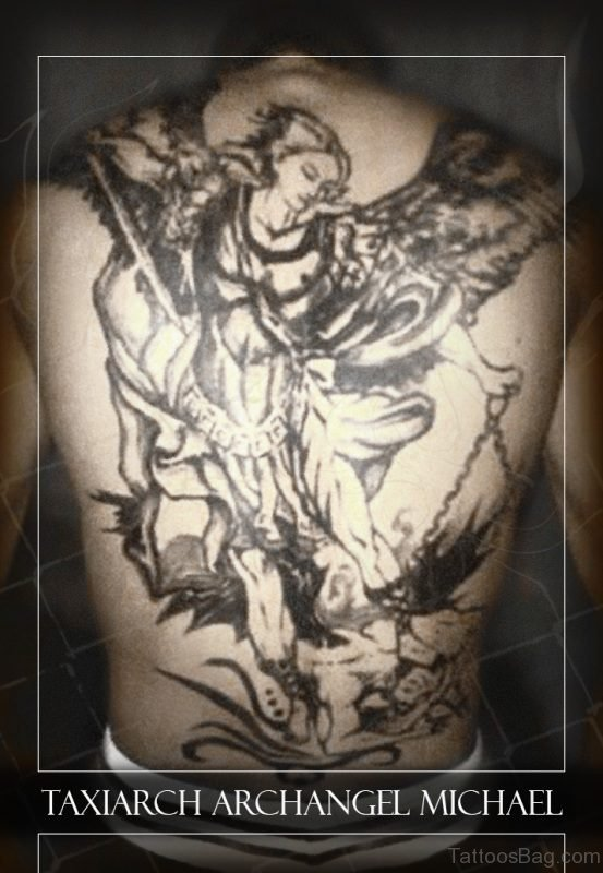 Nice Archangel Tattoo On Back