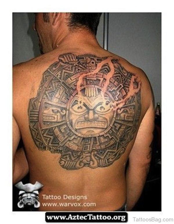 Nice Aztec Tattoo On Back