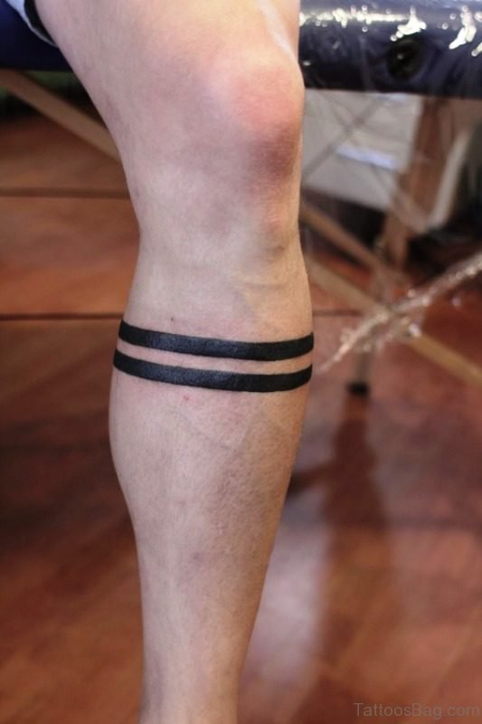 Nice Band Tattoo On Leg
