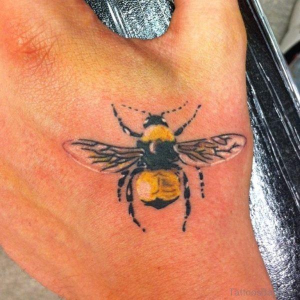 Nice Bee Tattoo On hand