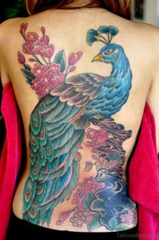Nice Big Peacock Tattoo On Back