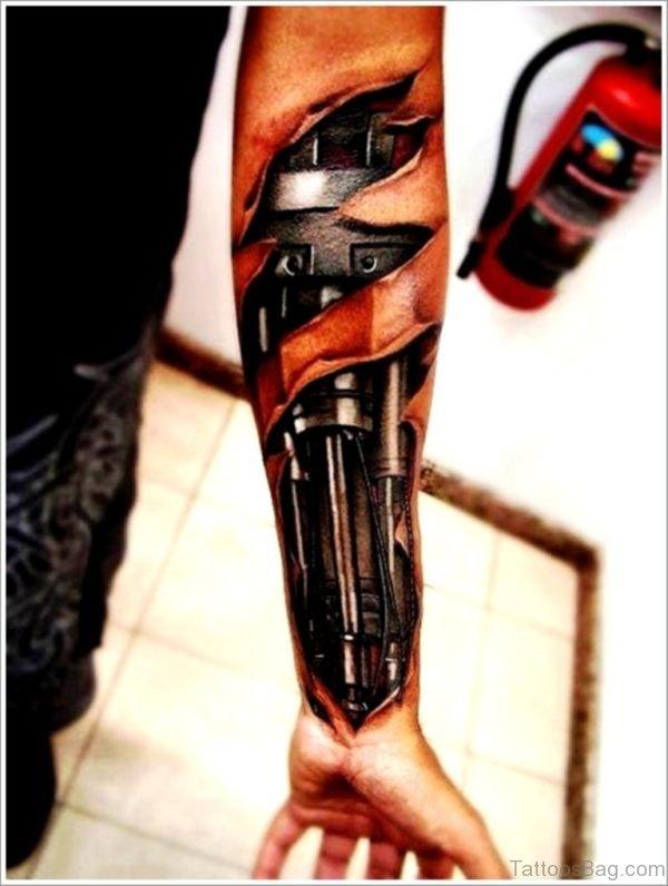 Nice Bio Mechanical Tattoo On Wrist
