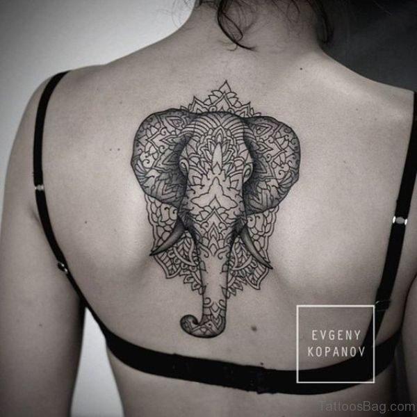 Nice Black And White Elephant Tattoo