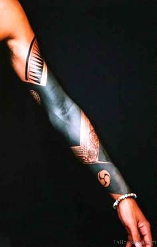 Nice Black Arm Tattoo On Arm