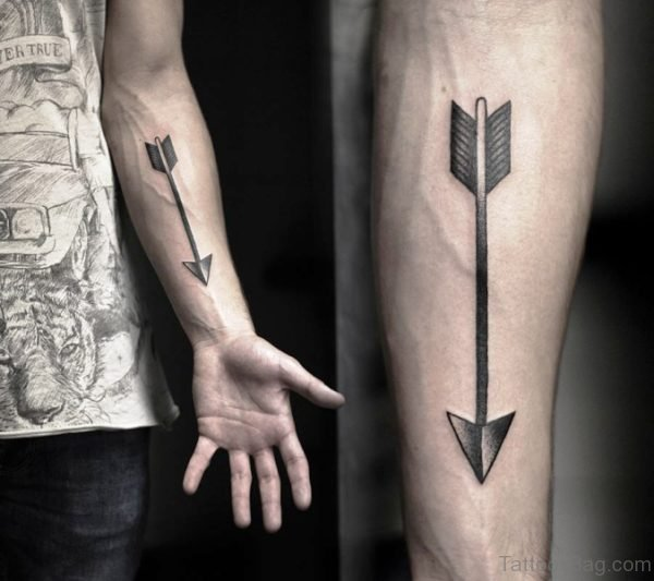 Nice Black Arrow Arm Tattoo On Arm