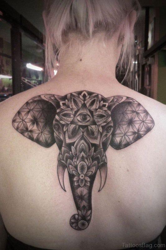 Nice Black Elephant Tattoo On Back