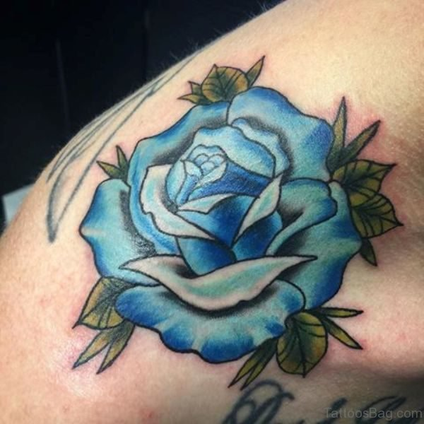 Nice Blue Rose Shoulder Tattoo