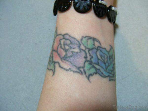 Nice Blue Rose Wrist Tattoo