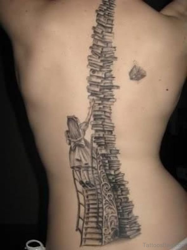 Nice Book Tattoo On Back