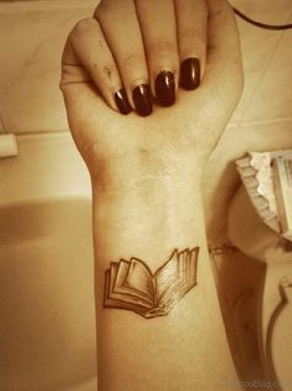 Nice Book Tattoo On Wrist