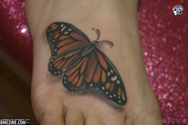 Nice Brown Butterfly Tattoo