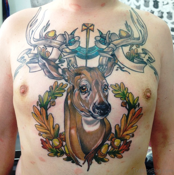 Nice Buck Tattoo On Chest