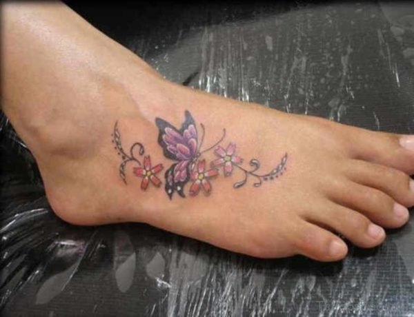 Nice Butterfly Tattoo On Foot