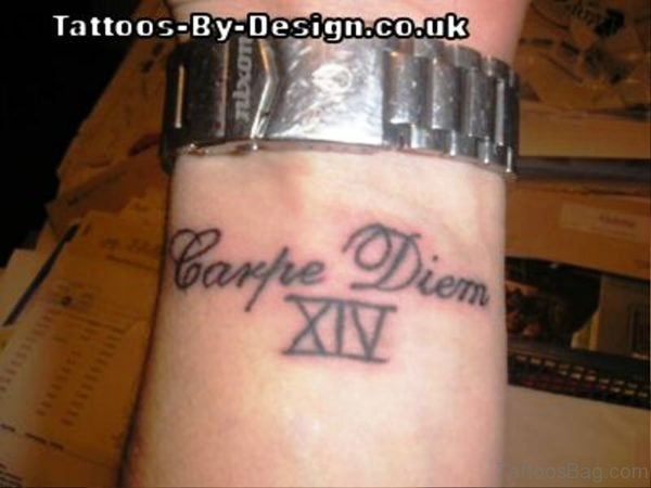 Nice Carpe Diem Tattoo On Wrist