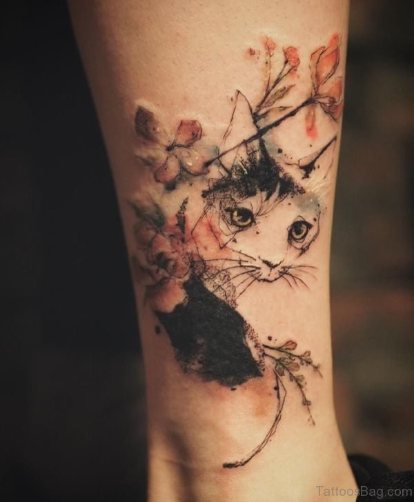 Nice Cat Tattoo Design On Leg