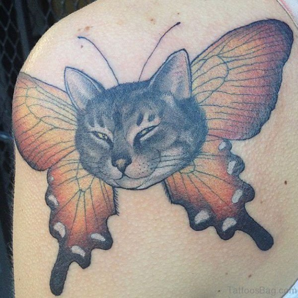 Nice Cat tattoo On Shoulder