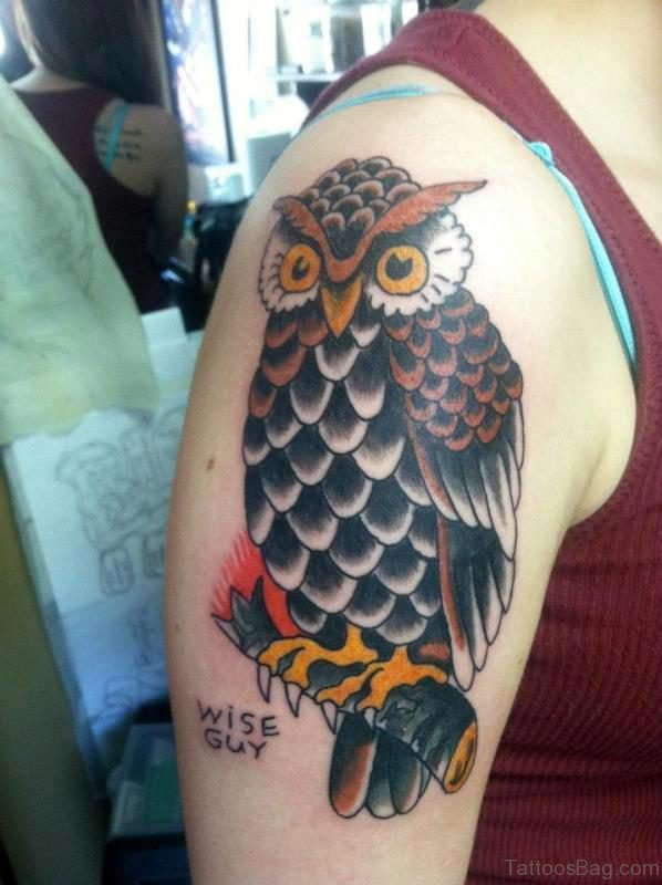 Nice Colored Owl Tattoo On Shoulder