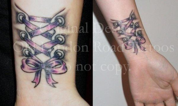 Nice Corset Wrist Tattoo