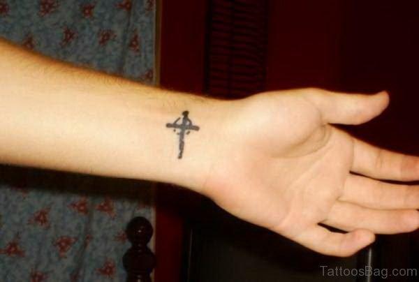 Nice Cross Tattoo On wrist