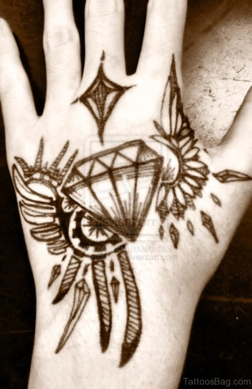 Nice Diamond Tattoo On Hand