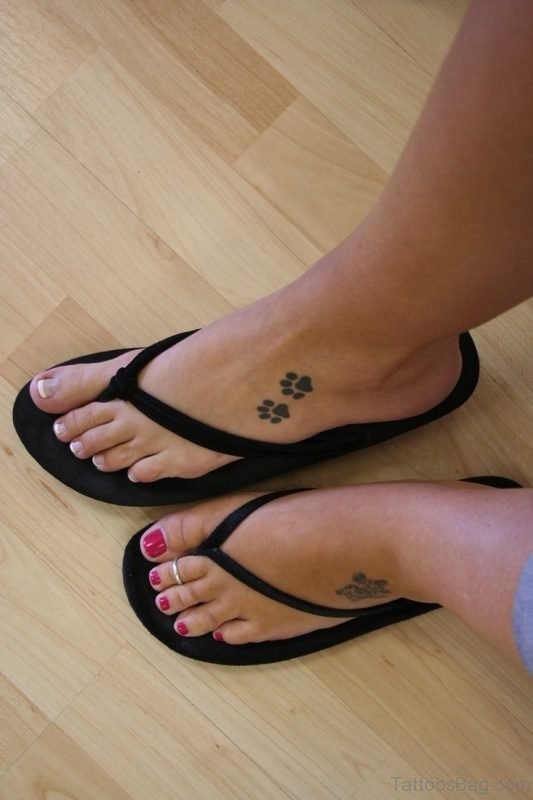 Nice Dog Paw Tattoo On Foot
