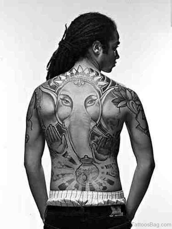 Nice ELephant Tattoo On Back