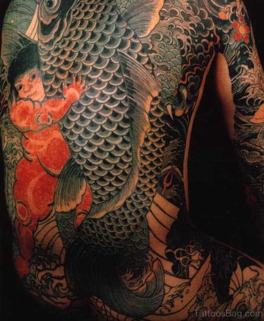 Nice Elephant Tattoo Design On Back Body