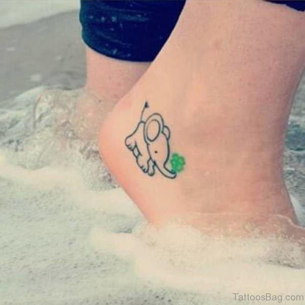 Nice Elephant Tattoo On Ankle