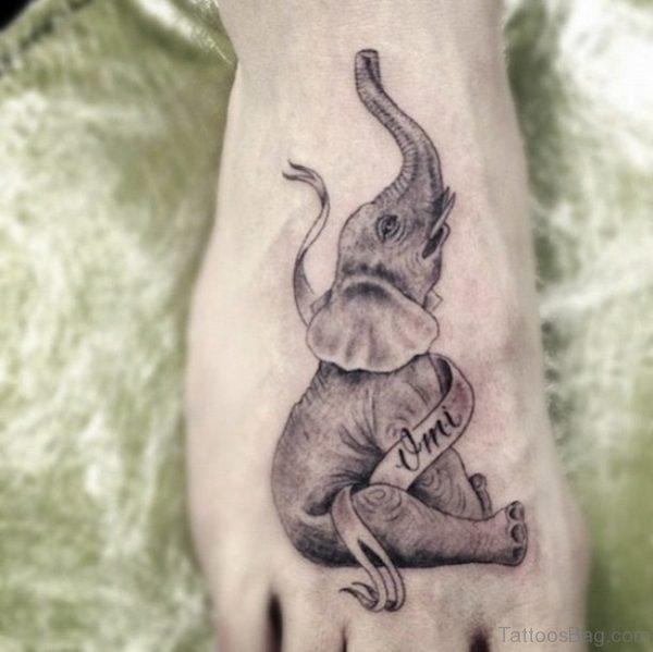 Nice Elephant Tattoo On Foot