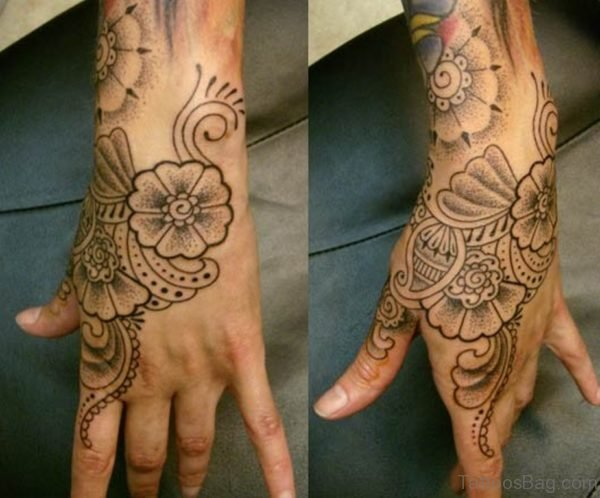 Nice Flower Tattoo On Hand