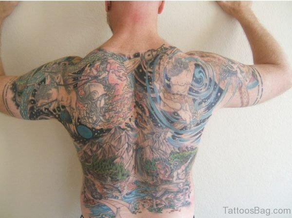 Nice Full Back Tattoo