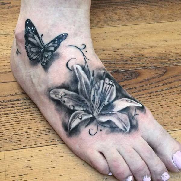 Nice Grey Ink Butterfly Tattoo
