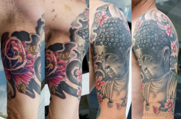 Nice Half Sleeve Buddha Tattoo Design
