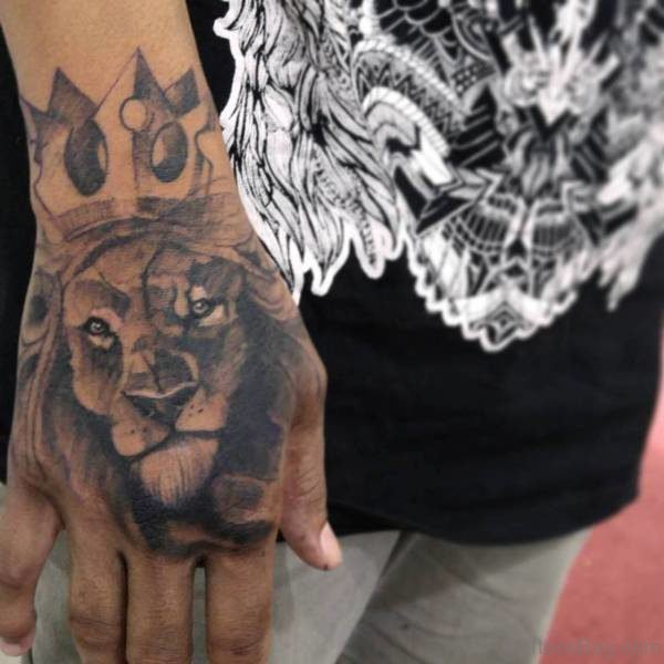Nice Lion Head Tattoo on Hand