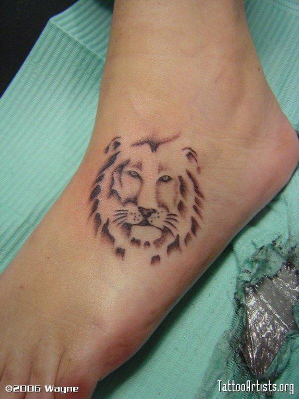 Nice Lion Tattoo On Foot