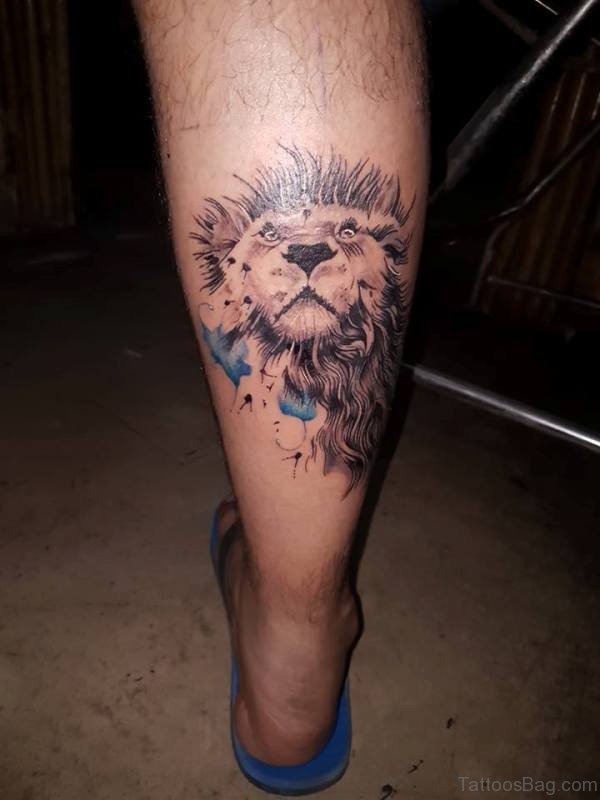 Nice Lion Tattoo On Leg