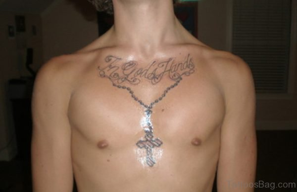 Nice Looking Rosary Tattoo On Chest