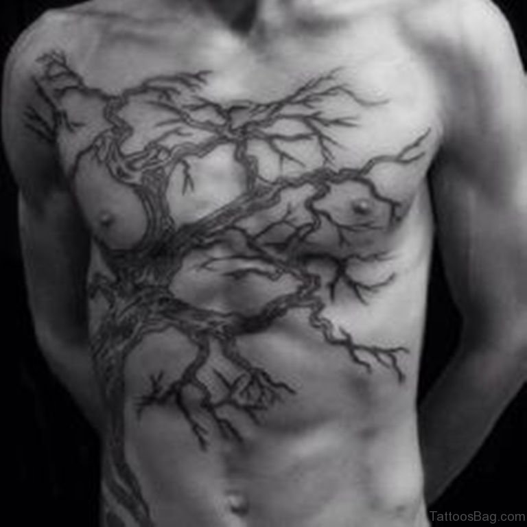 64 mind blowing tree tattoos for chest for Tattoos to cover surgery scars
