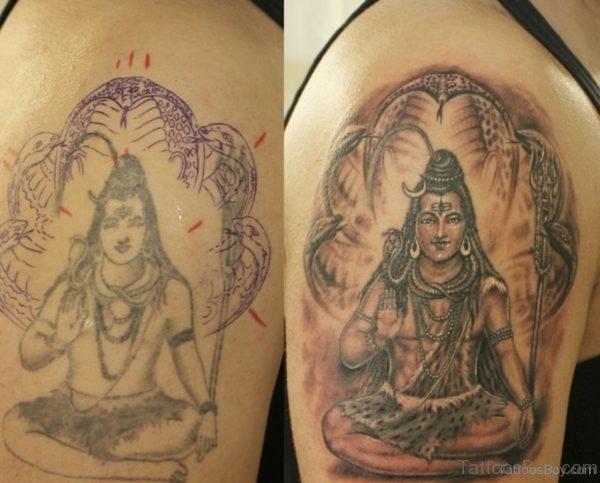Nice Lord Shiva Tattoo On Shoulder