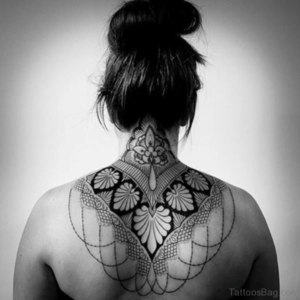Nice Mandala Back Neck Tattoo