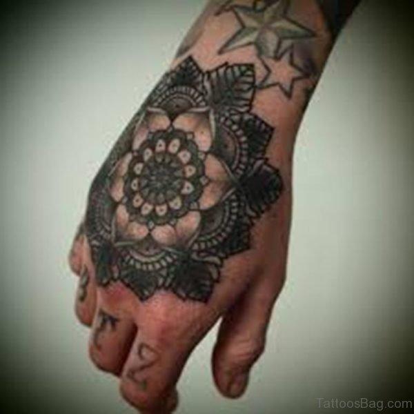 Nice Mandala Flower Tattoo On Hand